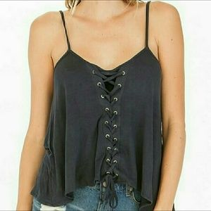 Tops - Lace Up Tank Top - Navy